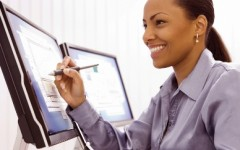 Businesswoman with computer.
