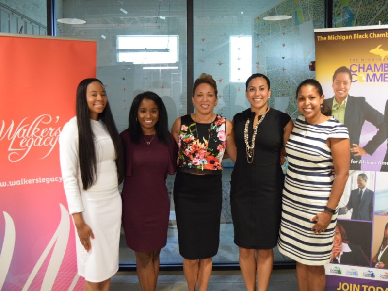 Pictured from left to right: Anistia Thomas: Phiaria Insurance Group, Walker's Legacy Detroit City Chair; Rumia Burbank: Board Member, Michigan Black Chamber of Commerce;  Pamela Rodgers: Chairman, Michigan Black Chamber of Commerce; Natalie M. Cofield: Founder & CEO, Walker's Legacy; Christianna Sims: Program Manager, Build Institute