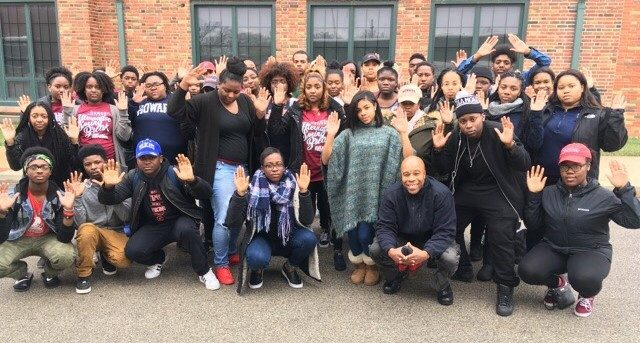 Howard students pictured with Normandy High School Students in St. Louis, Mo.