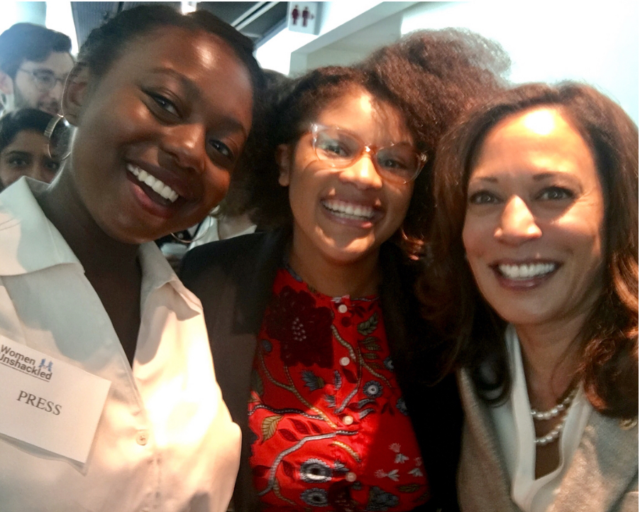 Members of the Walker's Legacy team snap a photo with Sen. Kamala Harris
