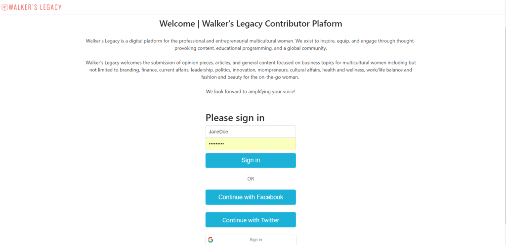 Walker's Legacy Launches Beta Open Contributor Platform for Business