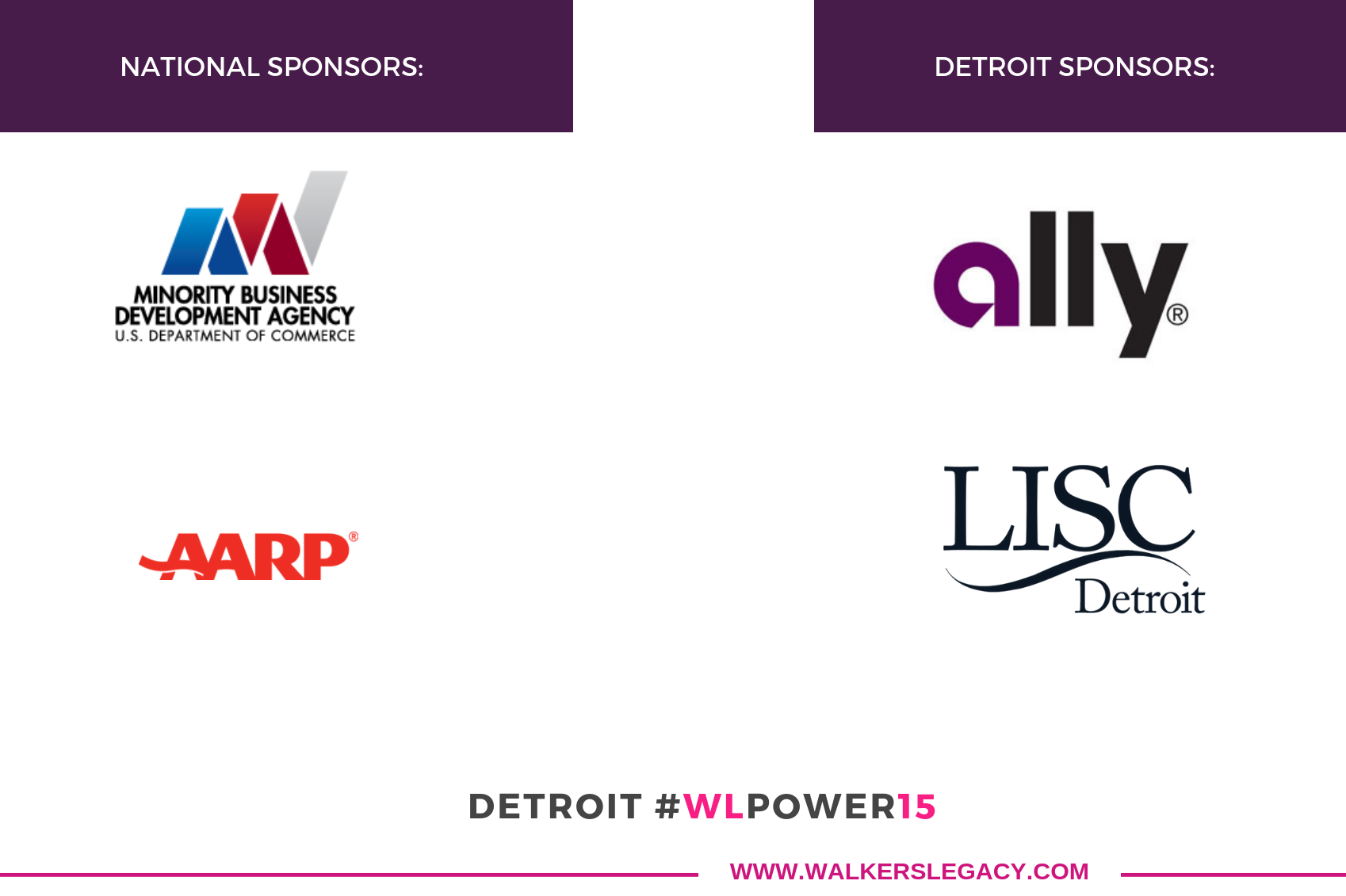Thank you to our generous sponsors for our Detroit #WLPower15 Cohort