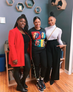 Tanisha Colon-Bibb (center) with Senior Account Executive, Tequilla white and Rebelle Agency's first International client, TreasureTress Founder Jamelia Donaldson.